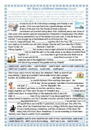 English Worksheet: Mr Busy thinks back to his childhood (used to /would) - easier version