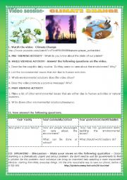 English Worksheet: VIDEO SESSION- CLIMATE CHANGE