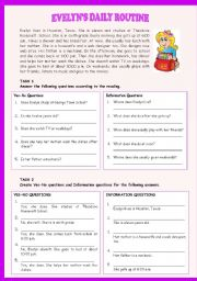 English Worksheet: EVELYN�S DAILY ROUTINE