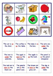 English Worksheet: Prepositions - GAME