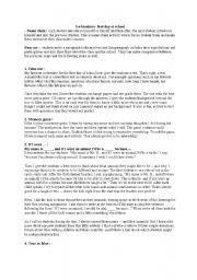 English Worksheet: first day at school, ice breakers