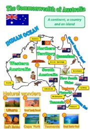 English Worksheet: A map of Australia