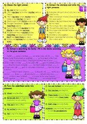English Worksheet: Possessive Adjectives-Object Pronouns-Possessive Pronouns 2/2
