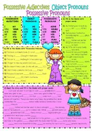 English Worksheet: Possessive Adjectives-Object Pronouns-Possessive Pronouns 2/1 (UPDATED)
