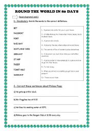 English Worksheets: Round the World in 80 days- Reader