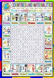 English Worksheet: NATIONALITIES- WORDSEARCH (KEY INCLUDED)