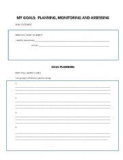 English Worksheets: ESL Goals Sheet