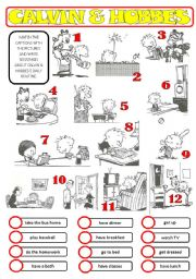 English Worksheets: A daily routine with Calvin & Hobbes