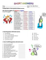 English Worksheets: Worksheet: Short Answers