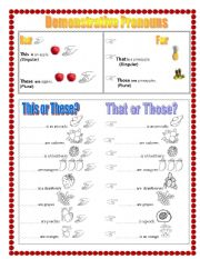 demonstrative pronouns using fruits esl worksheet by adri micha. Black Bedroom Furniture Sets. Home Design Ideas
