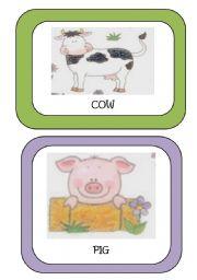 English Worksheets: Farm Animals Flash-cards