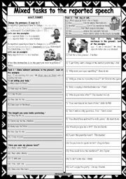 English Worksheet: Mixed tasks to the reported speech * 7 different tasks * 2 pages * with key * fully editable