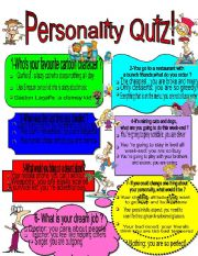 picture relating to Free Printable Personality Test called Character quiz - ESL worksheet as a result of edwi