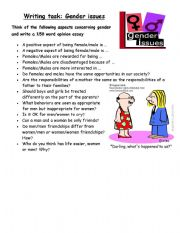 English Worksheets: Writing task on GENDER ISSUES