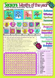English Worksheet: Seasons&Months of the Year (KEY included)