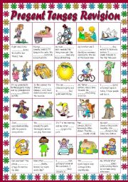 English Worksheets: Present Tenses Revision (B&W+KEY included)