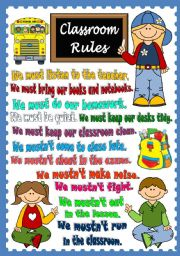 English Worksheet: Classroom Rules - POSTER
