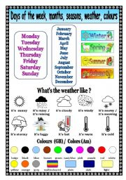 English Worksheet: Days of the week, months, seasons, weather, colors