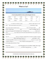 English worksheet: What is a Cay? Cloze activity