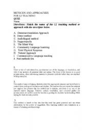English Worksheets: Methods quizz