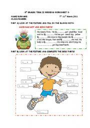 English Worksheets: body parts worksheet