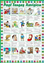 English Worksheet: Past Tenses Revision (B&W + KEY included)