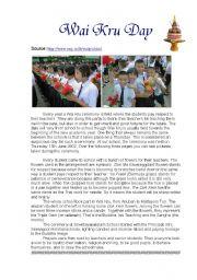 English Worksheets: Thai ways : The  Wai  Kru  Ceremony