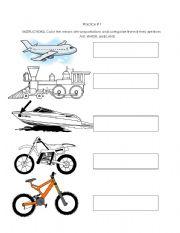 English Worksheets: Transportations