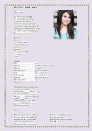 English Worksheet: Selena Gomez - Who says