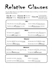 English Worksheets: Relative Clauses, who-which-when-whoever-whenever