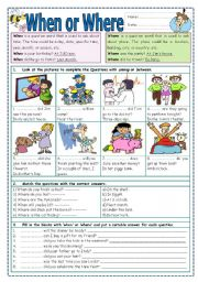 English Worksheets: When or Where?