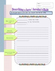 English Worksheets: writing about a hero