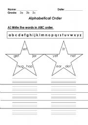 English Worksheets: abc order 2