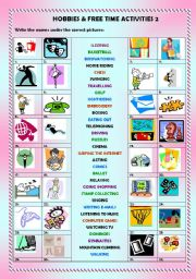 English Worksheet: Hobbies & free time activities 2/2 (+ key)