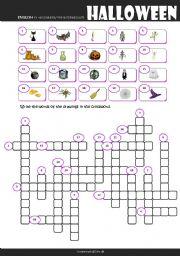 English Worksheet: Halloween Crossword