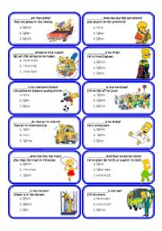 English Worksheet: Wh_questions_multiple_choice_cards with the Simpsons set1