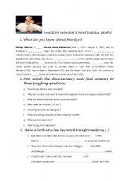 English Worksheet: Marilyn Monroe mysterious death film worksheet FCE
