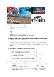 English Worksheets: Six days seven nights film worksheet FCE