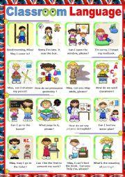 English Worksheet: Classroom Language  -  Poster