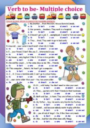 English Worksheet: Verb to be -Multiple choice (KEY INCLUDED)