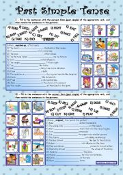 English Worksheet: Past Simple Tense*** fully editable *** with key