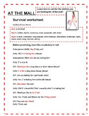 AT THE MALL- Survival Worksheet and exercises - ESL