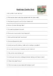 English Worksheet: Hastings Castle Quiz