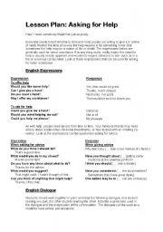 ESL worksheets for beginners: asking for help