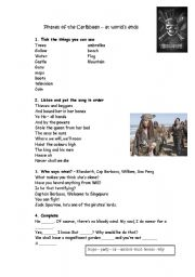 English Worksheet: Pirates of the caribbean - At the world�s ends