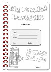 English Worksheet: English Portfolio Cover - 2nd Version