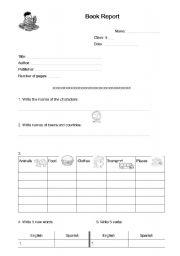 English worksheet: Book Report