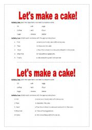 English Worksheets:  Let�s Make a Cake