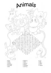 English Worksheets: Animals - Word Search