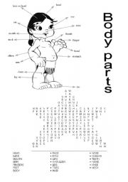 Body parts - Word Search